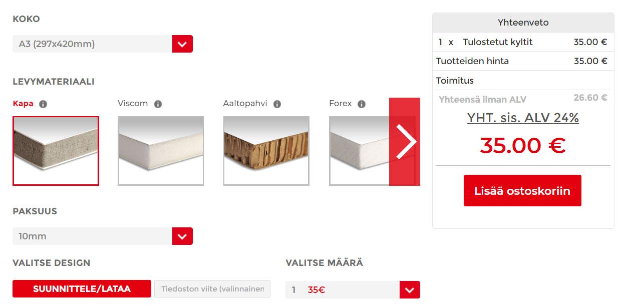 Uudella tuotesivulla valitset tuotteen valinnat yhdessä näkymässä